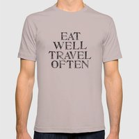 Eat Well, Travel Often Mens Fitted Tee Cinder SMALL