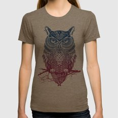 Evening Warrior Owl Womens Fitted Tee Tri-Coffee LARGE
