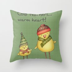 Two Chicks - green Throw Pillow