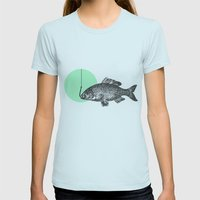 mint bubble Womens Fitted Tee Light Blue SMALL