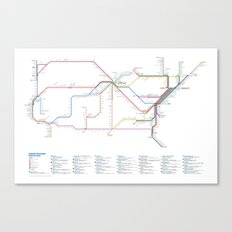Amtrak as Subway Map 2016 - Sunset Limited Version Canvas Print