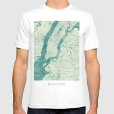 New York Map Blue Vintage Mens Fitted Tee White SMALL