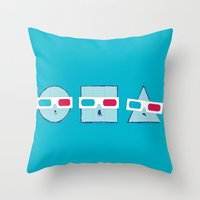 3D Shapes Throw Pillow