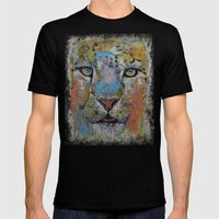 Snow Leopard Mens Fitted Tee Black SMALL