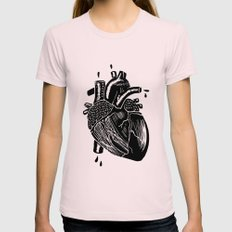 heart Womens Fitted Tee Light Pink SMALL