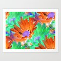 Mystical Flowers in Orange Art Print