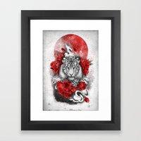 White tiger, red sun Framed Art Print