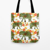 Wading Elephants Tote Bag