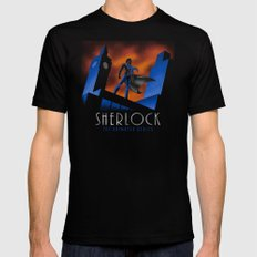 Sherlock Cartoon Mens Fitted Tee Black SMALL