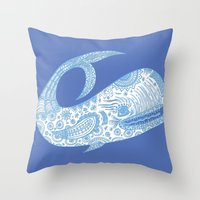 Doodle Whale Throw Pillow