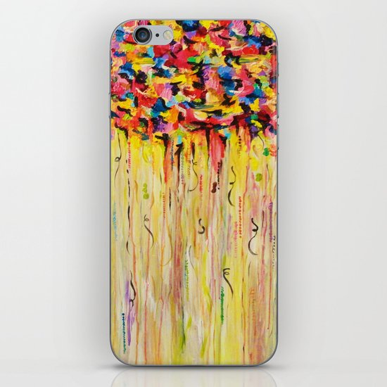 OPPOSITES LOVE Raining Sunshine - Bold Bright Sunny Colorful Rain Storm Abstract Acrylic Painting iPhone & iPod Skin