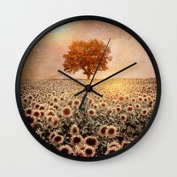 Lone Tree & Sunflowers F… Wall Clock