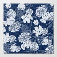 Sketchy Floral: Navy Ton… Canvas Print