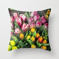 Tulips At Market Throw Pillow