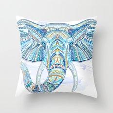 Blue Ethnic Elephant Throw Pillow