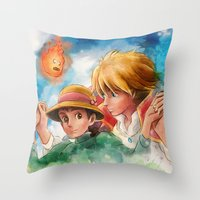 Sophie and Howl from Howl's Moving Castle Tra-Digital Painting Throw Pillow