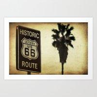 Route 66 California Palm Tree Art Print