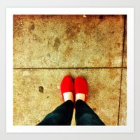 Bright Red Shoes Art Print