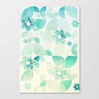 Flowers and Snowflakes Pattern Canvas Print