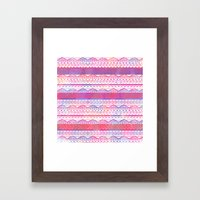 Pink purple watercolor hand drawn aztec pattern  Framed Art Print