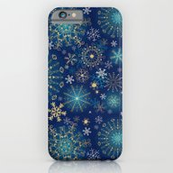 Blue Gold Snowflakes  iPhone 6 Slim Case