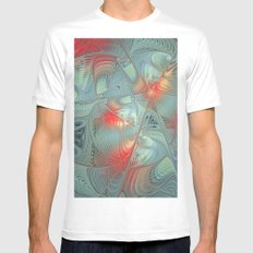 String Theory Fractal Art White SMALL Mens Fitted Tee