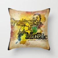 Music Epression Throw Pillow