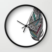 Single Aztec Feather  Wall Clock