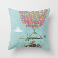 Riding A Bicycle Through The Mountains Throw Pillow
