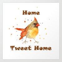 Funny Animals, CARDINAL, bird paintings, bird art, new home decor, bird watercolor Art Print