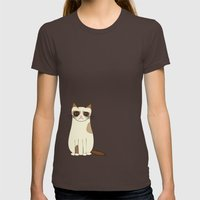Grumpy Cat Womens Fitted Tee Brown SMALL