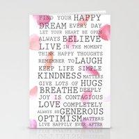 Inspirational words rose petals   Stationery Cards
