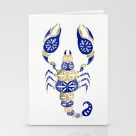 Stationery Cards featuring Scorpion – Navy & Gold by Cat Coquillette