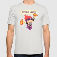 Pizzagirl Mens Fitted Tee Silver SMALL