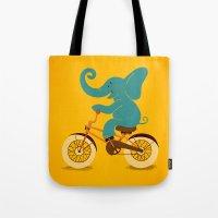 Elephant on the bike Tote Bag