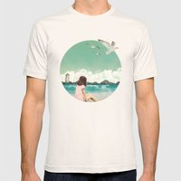Calm ocean Mens Fitted Tee Natural SMALL