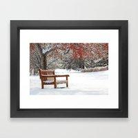 Winter Bench And Crabapp… Framed Art Print