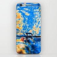 Blue rusty door iPhone & iPod Skin