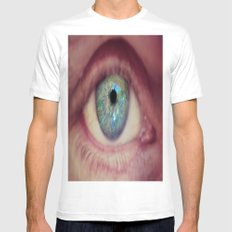World Eye View White Mens Fitted Tee SMALL