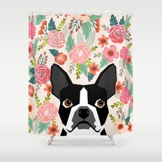 Boston Terrier florals flowers boho cute black and white boston terrier puppy dog pet portraits  Shower Curtain