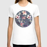 flower T-shirts featuring Butterflies and Hibiscus Flowers - a painted pattern by micklyn