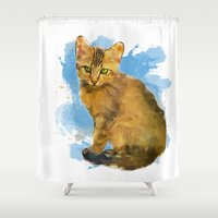 Watercolor and splatter Cat Shower Curtain