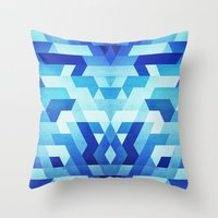 Abstract geometric triangle pattern (futuristic future symmetry) in ice blue Throw Pillow