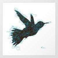 Bird Fly No. 1 (Black/Aq… Art Print