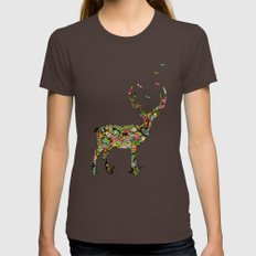 My Dear Deer Womens Fitted Tee Brown SMALL