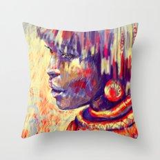 African portrait Throw Pillow