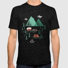 Pitch A Tent Mens Fitted Tee Tri-Black SMALL