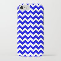 chevron iPhone & iPod Cases featuring Chevron (Blue/White) by 10813 Apparel