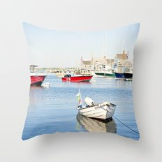Boats Reflecting in Harbor in Nantucket Throw Pillow