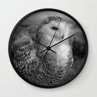 Snowy Owl - B & W Wall Clock